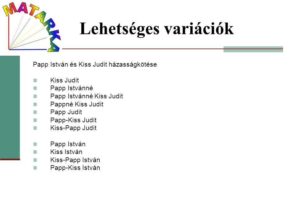 Lehetséges variációk Papp István és Kiss Judit házasságkötése Kiss Judit Papp Istvánné Papp Istvánné Kiss Judit Pappné Kiss Judit Papp Judit Papp-Kiss