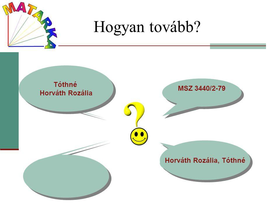 Hogyan tovább? MSZ 3440/2-79 MOKKA SZTE EK Tóthné Horváth Rozália Tóthné Horváth Rozália Horváth Rozália, Tóthné