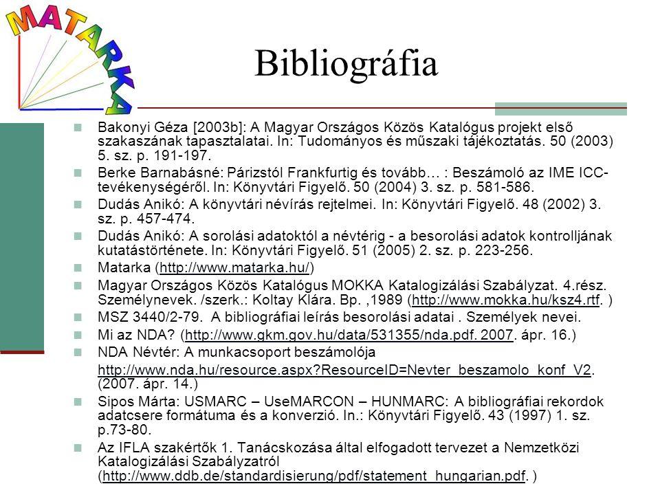 Bibliográfia Bakonyi Géza [2003b]: A Magyar Országos Közös Katalógus projekt első szakaszának tapasztalatai. In: Tudományos és műszaki tájékoztatás. 5