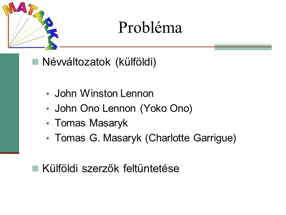 Probléma Névváltozatok (külföldi)  John Winston Lennon  John Ono Lennon (Yoko Ono)  Tomas Masaryk  Tomas G. Masaryk (Charlotte Garrigue) Külföldi