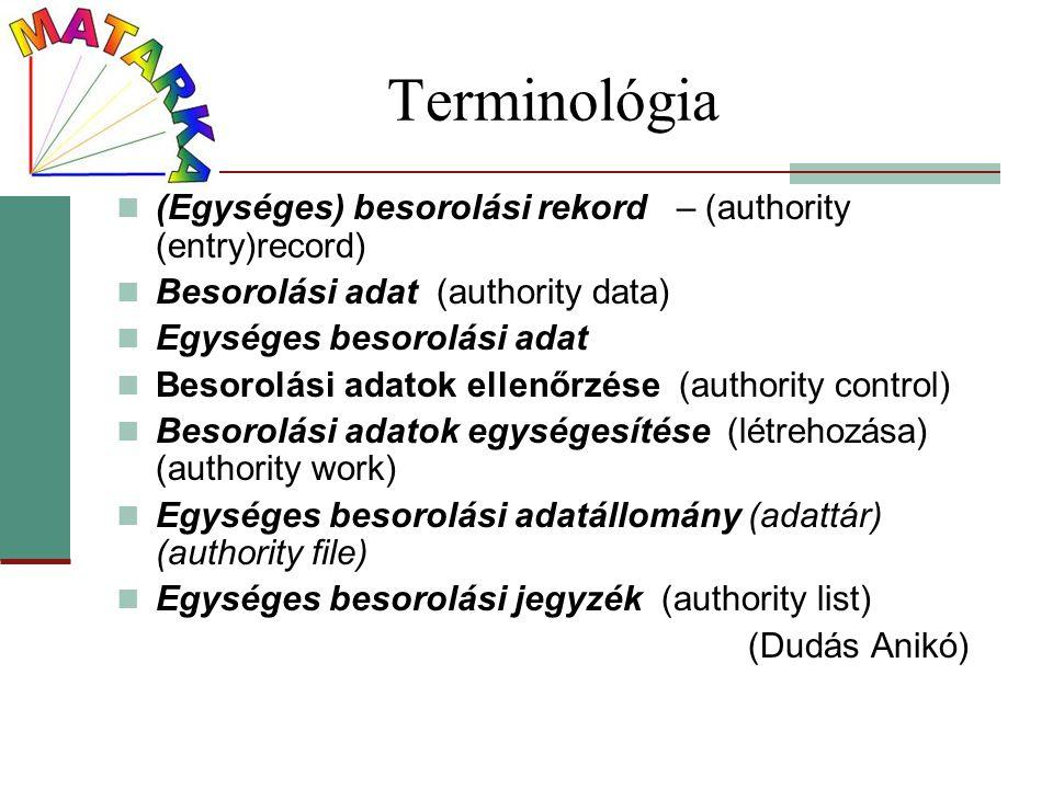 Terminológia (Egységes) besorolási rekord – (authority (entry)record) Besorolási adat (authority data) Egységes besorolási adat Besorolási adatok elle