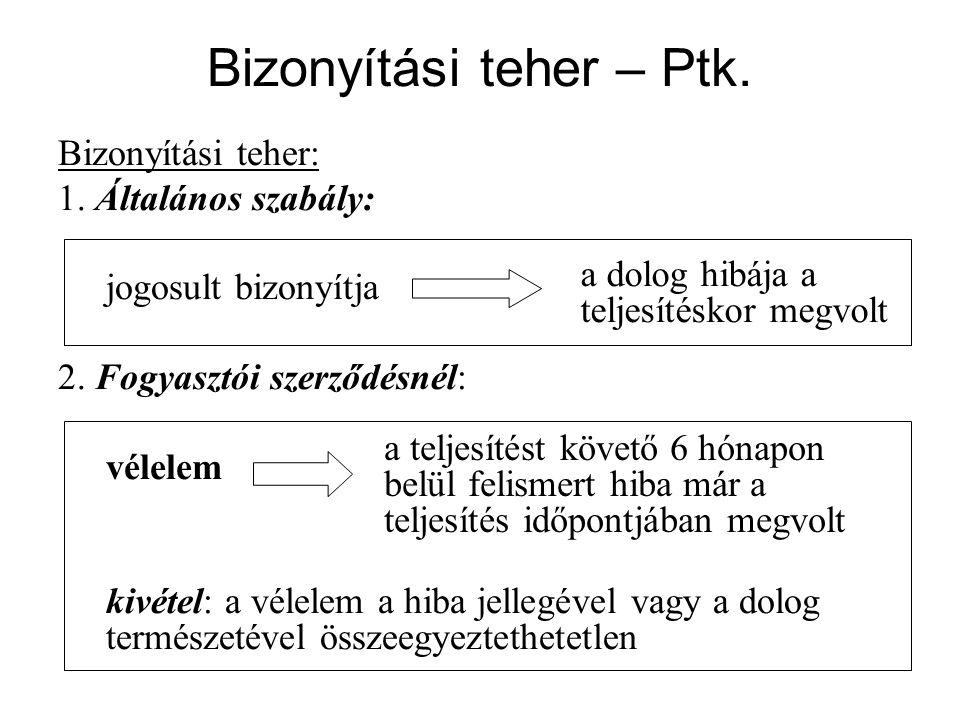 Bizonyítási teher – Ptk. Bizonyítási teher: 1. Általános szabály: jogosult bizonyítja 2.