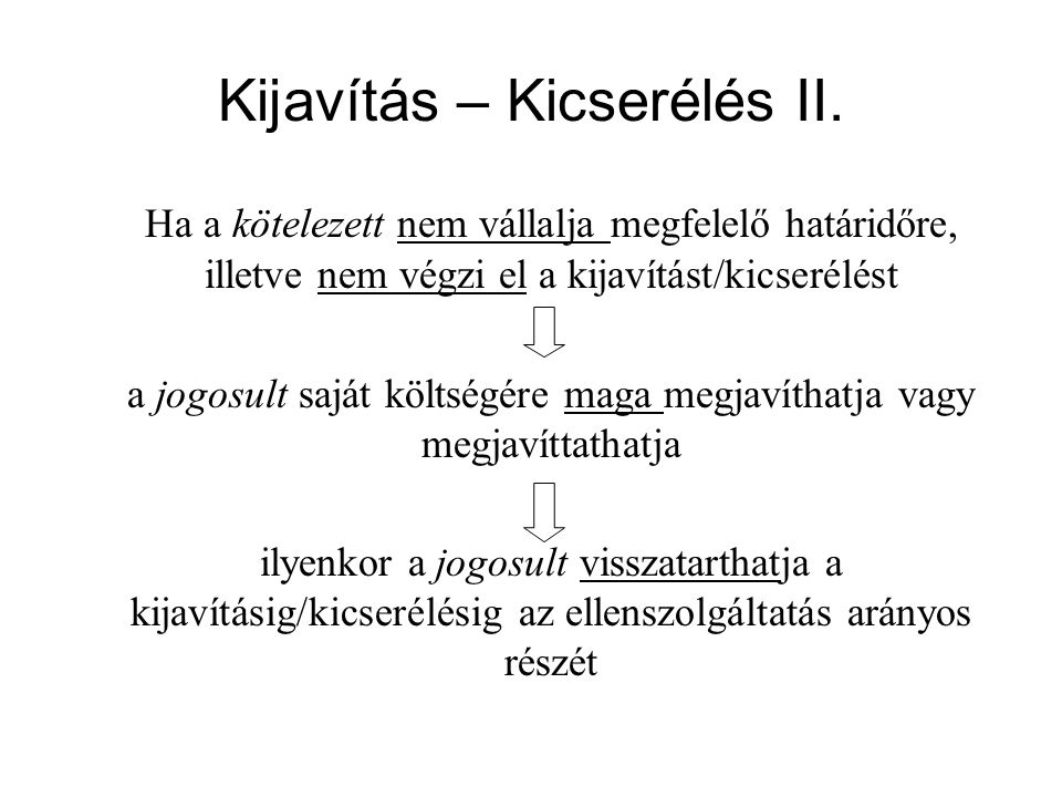 Kijavítás – Kicserélés II.