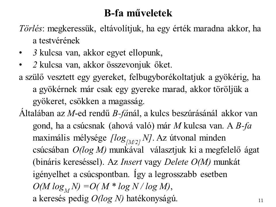 B-fa műveletek Empirikusan az M=3,4 a legjobb, ha csak fő memóriát használunk.