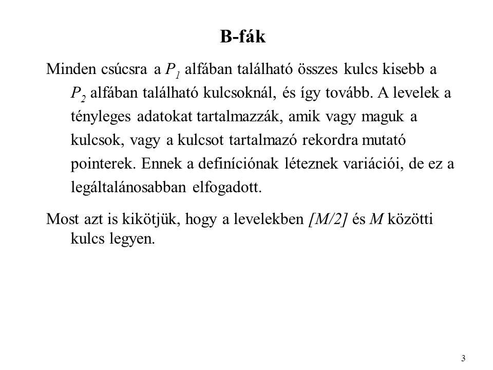 B-fák A 4-ed rendű B-fát szokták 2-3-4 fának is nevezni, pl.: 4 214872 1215253141598491 1, 4, 8, 1112, 13 15, 18, 19 21, 2425, 2631, 3841, 43, 4648, 49, 5059, 6872, 78 84, 88 91, 92, 99