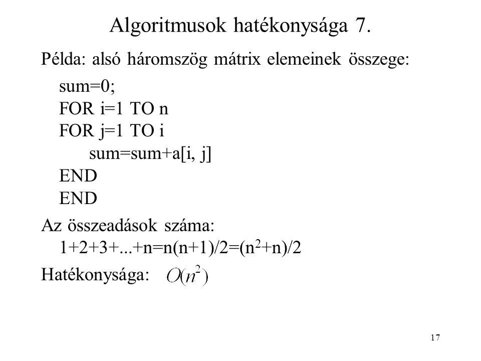 17 Algoritmusok hatékonysága 7.