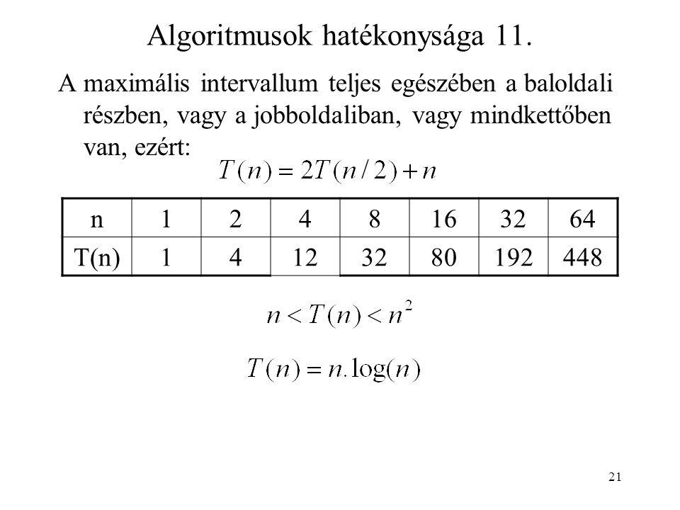 21 Algoritmusok hatékonysága 11.