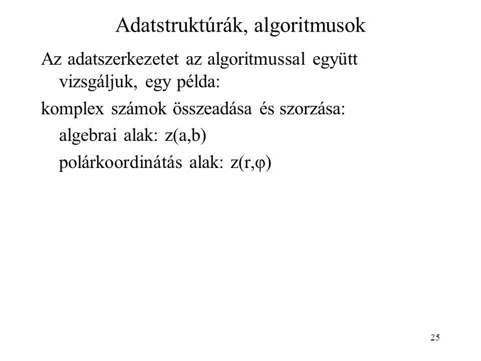 25 Adatstruktúrák, algoritmusok Az adatszerkezetet az algoritmussal együtt vizsgáljuk, egy példa: komplex számok összeadása és szorzása: algebrai alak: z(a,b) polárkoordinátás alak: z(r,φ)