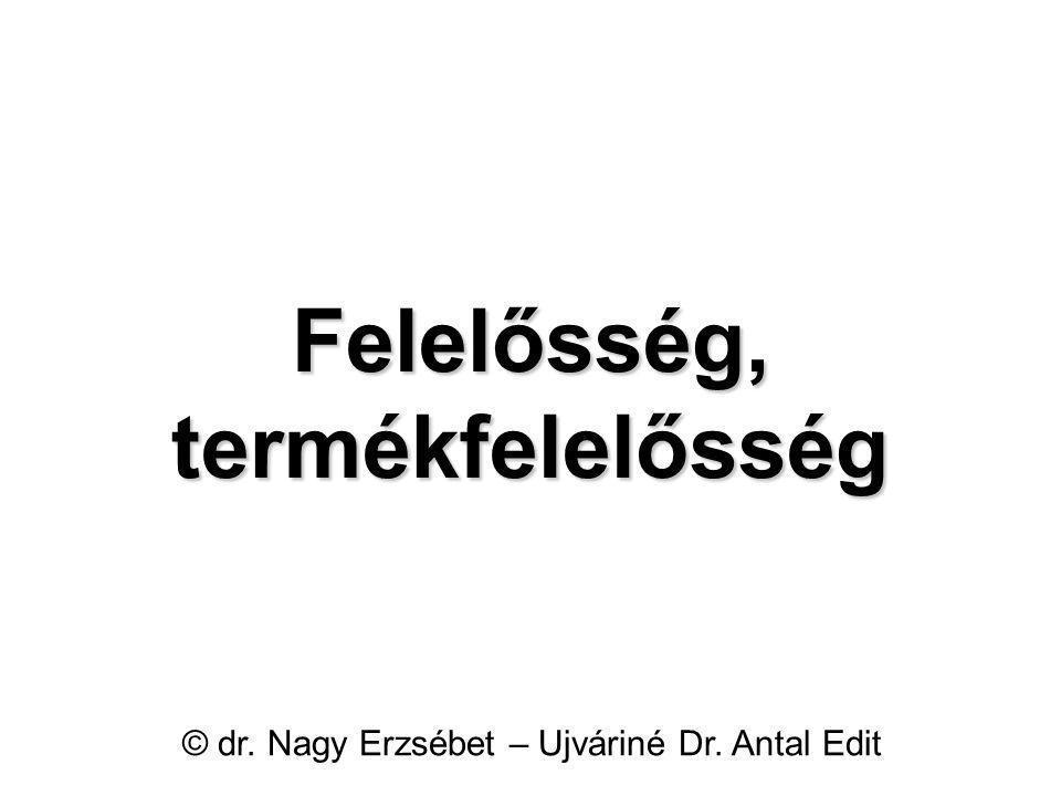 Felelősség, termékfelelősség © dr. Nagy Erzsébet – Ujváriné Dr. Antal Edit