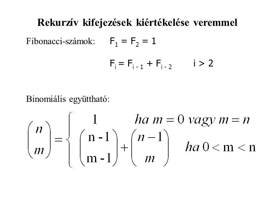 Rekurzív kifejezések kiértékelése veremmel Fibonacci-számok: F 1 = F 2 = 1 F i = F i - 1 + F i - 2 i > 2 Binomiális együttható: