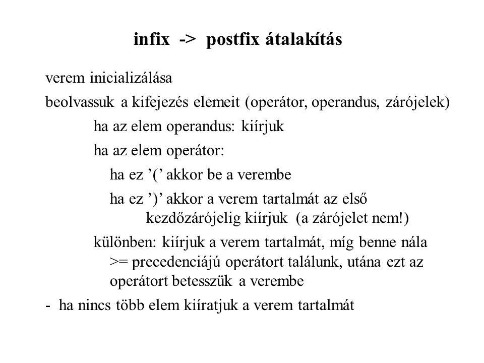 infix -> postfix átalakítás verem inicializálása beolvassuk a kifejezés elemeit (operátor, operandus, zárójelek) ha az elem operandus: kiírjuk ha az e