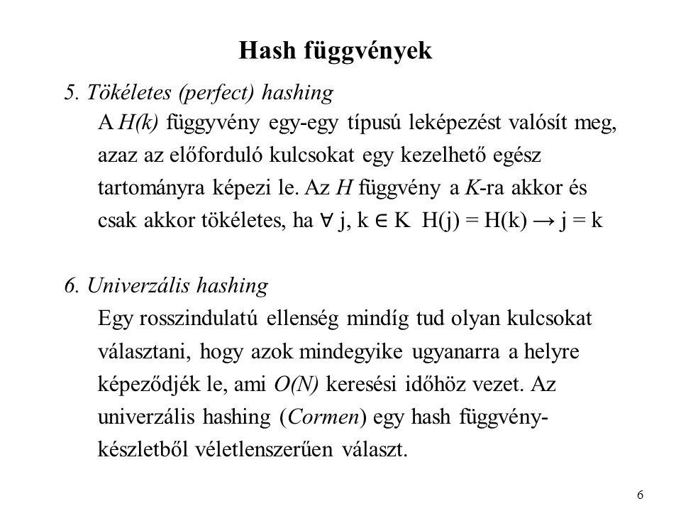Hash függvények 5.