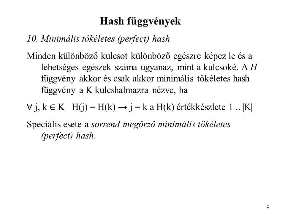 Hash függvények 10.