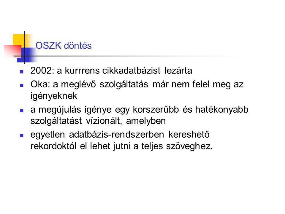 OSZK döntés 2002: a kurrrens cikkadatbázist lezárta Oka: a meglévő szolgáltatás már nem felel meg az igényeknek a megújulás igénye egy korszerűbb és h