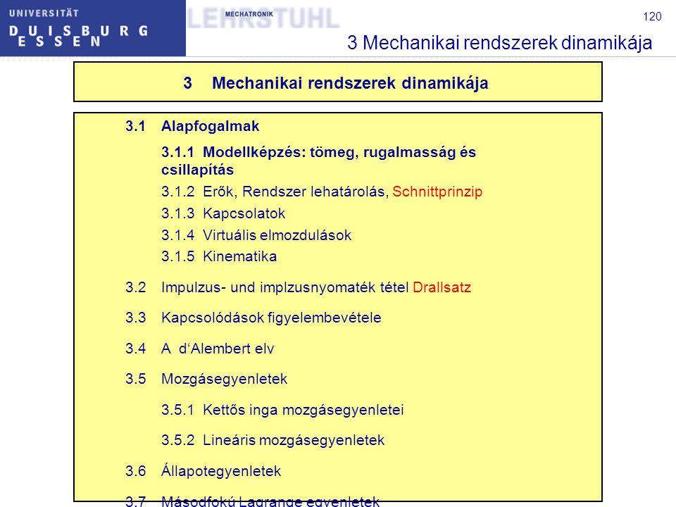 120 3 Mechanikai rendszerek dinamikája 3.1Alapfogalmak 3.1.1Modellképzés: tömeg, rugalmasság és csillapítás 3.1.2Erők, Rendszer lehatárolás, Schnittprinzip 3.1.3Kapcsolatok 3.1.4Virtuális elmozdulások 3.1.5Kinematika 3.2Impulzus- und implzusnyomaték tétel Drallsatz 3.3Kapcsolódások figyelembevétele 3.4A d'Alembert elv 3.5Mozgásegyenletek 3.5.1Kettős inga mozgásegyenletei 3.5.2Lineáris mozgásegyenletek 3.6Állapotegyenletek 3.7Másodfokú Lagrange egyenletek 3Mechanikai rendszerek dinamikája