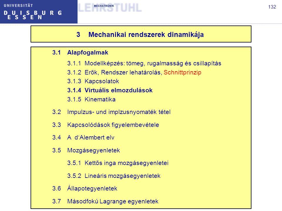 132 3.1Alapfogalmak 3.1.1Modellképzés: tömeg, rugalmasság és csillapítás 3.1.2Erők, Rendszer lehatárolás, Schnittprinzip 3.1.3Kapcsolatok 3.1.4Virtuális elmozdulások 3.1.5Kinematika 3.2Impulzus- und implzusnyomaték tétel 3.3Kapcsolódások figyelembevétele 3.4A d'Alembert elv 3.5Mozgásegyenletek 3.5.1Kettős inga mozgásegyenletei 3.5.2Lineáris mozgásegyenletek 3.6Állapotegyenletek 3.7Másodfokú Lagrange egyenletek 3Mechanikai rendszerek dinamikája