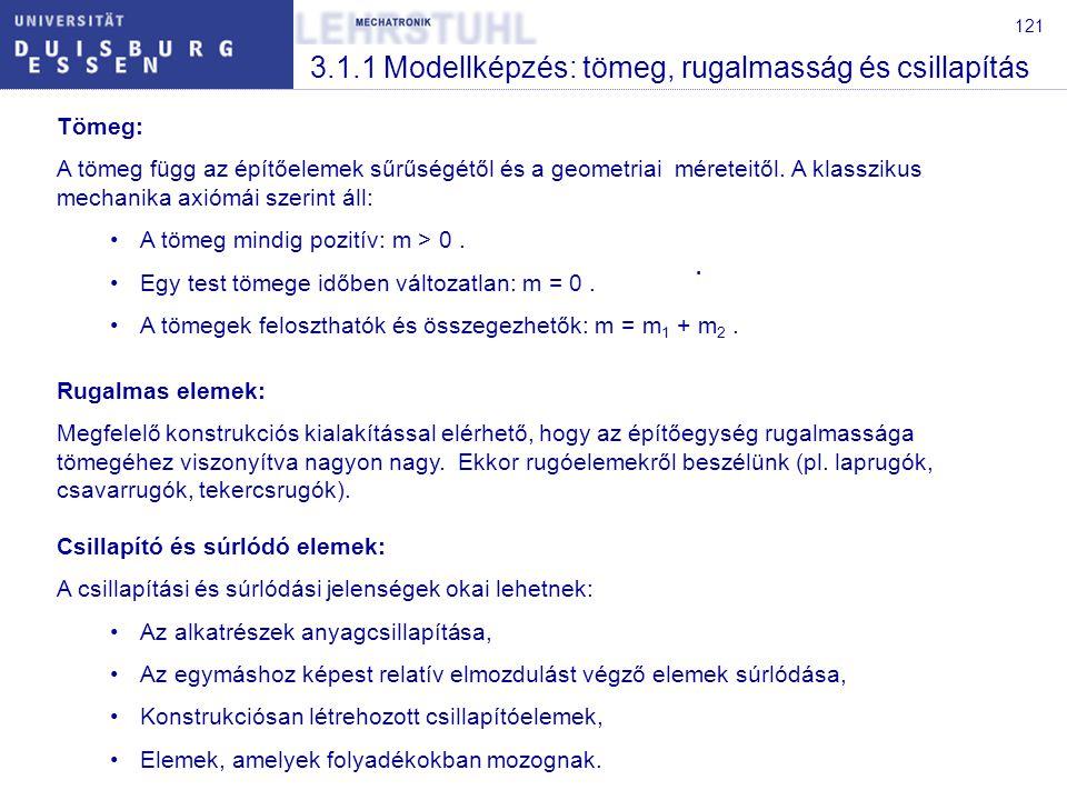 121 3.1.1 Modellképzés: tömeg, rugalmasság és csillapítás Tömeg: A tömeg függ az építőelemek sűrűségétől és a geometriai méreteitől. A klasszikus mech