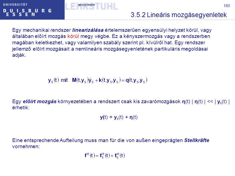 160 3.5.2 Lineáris mozgásegyenletek Egy mechanikai rendszer linearizálása értelemszerűen egyensúlyi helyzet körül, vagy általában előírt mozgás körül megy végbe.