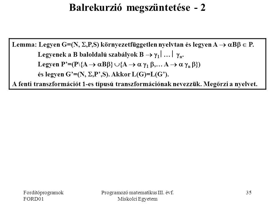 Fordítóprogramok FORD01 Programozó matematikus III.