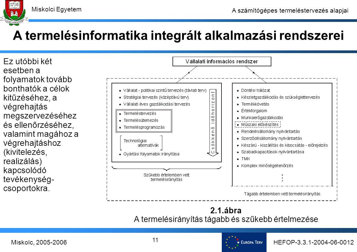 HEFOP-3.3.1-2004-06-0012Miskolc, 2005-2006 Miskolci Egyetem 11 A számítógépes termeléstervezés alapjai Ez utóbbi két esetben a folyamatok tovább bonthatók a célok kitűzéséhez, a végrehajtás megszervezéséhez és ellenőrzéséhez, valamint magához a végrehajtáshoz (kivitelezés, realizálás) kapcsolódó tevékenység- csoportokra.