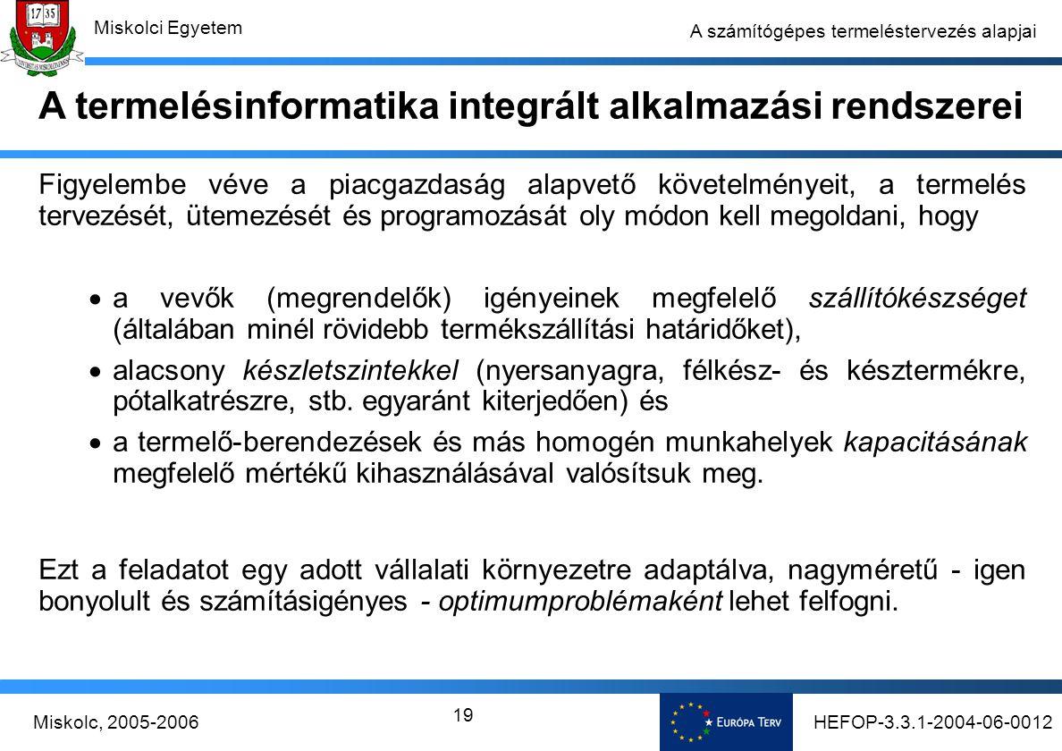 HEFOP-3.3.1-2004-06-0012Miskolc, 2005-2006 Miskolci Egyetem 19 A számítógépes termeléstervezés alapjai Figyelembe véve a piacgazdaság alapvető követelményeit, a termelés tervezését, ütemezését és programozását oly módon kell megoldani, hogy  a vevők (megrendelők) igényeinek megfelelő szállítókészséget (általában minél rövidebb termékszállítási határidőket),  alacsony készletszintekkel (nyersanyagra, félkész- és késztermékre, pótalkatrészre, stb.