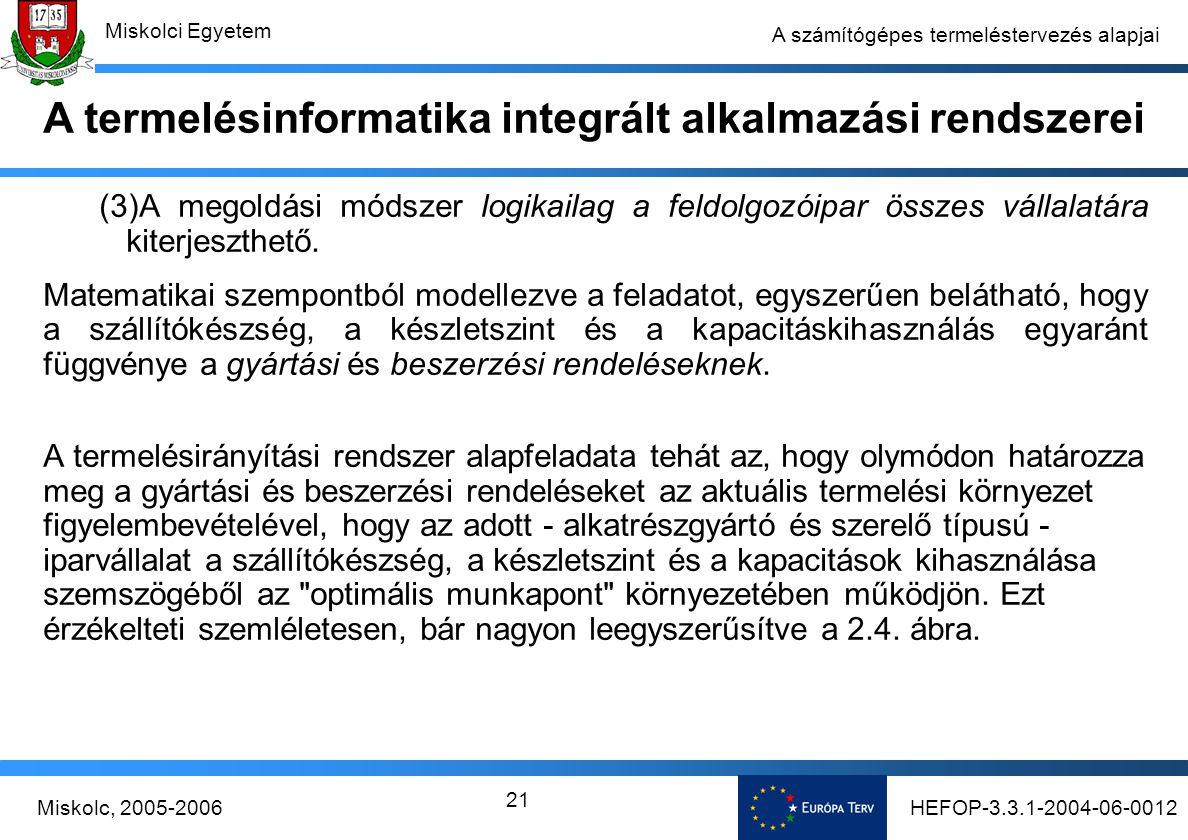 HEFOP-3.3.1-2004-06-0012Miskolc, 2005-2006 Miskolci Egyetem 21 A számítógépes termeléstervezés alapjai (3)A megoldási módszer logikailag a feldolgozóipar összes vállalatára kiterjeszthető.