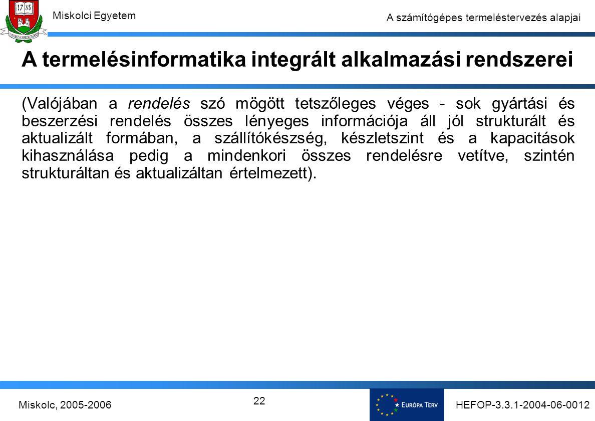HEFOP-3.3.1-2004-06-0012Miskolc, 2005-2006 Miskolci Egyetem 22 A számítógépes termeléstervezés alapjai (Valójában a rendelés szó mögött tetszőleges véges - sok gyártási és beszerzési rendelés összes lényeges információja áll jól strukturált és aktualizált formában, a szállítókészség, készletszint és a kapacitások kihasználása pedig a mindenkori összes rendelésre vetítve, szintén strukturáltan és aktualizáltan értelmezett).