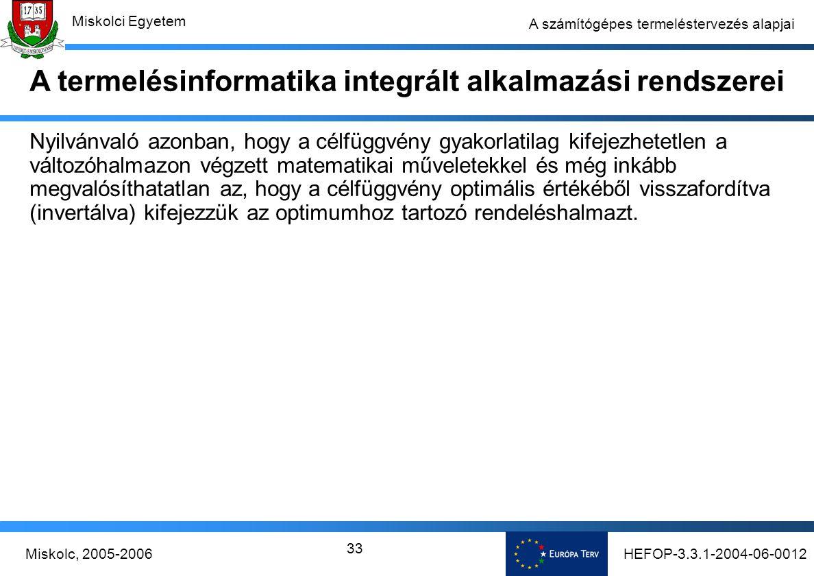 HEFOP-3.3.1-2004-06-0012Miskolc, 2005-2006 Miskolci Egyetem 33 A számítógépes termeléstervezés alapjai Nyilvánvaló azonban, hogy a célfüggvény gyakorlatilag kifejezhetetlen a változóhalmazon végzett matematikai műveletekkel és még inkább megvalósíthatatlan az, hogy a célfüggvény optimális értékéből visszafordítva (invertálva) kifejezzük az optimumhoz tartozó rendeléshalmazt.