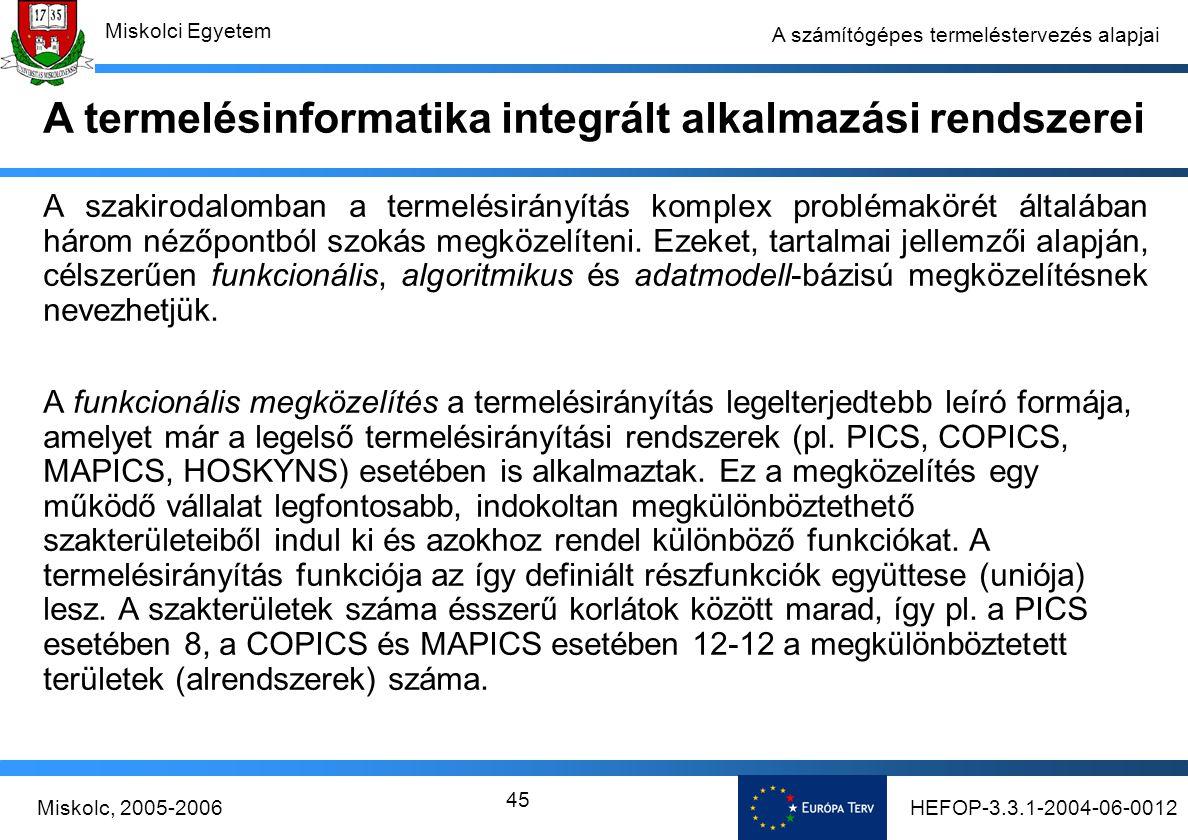 HEFOP-3.3.1-2004-06-0012Miskolc, 2005-2006 Miskolci Egyetem 45 A számítógépes termeléstervezés alapjai A szakirodalomban a termelésirányítás komplex problémakörét általában három nézőpontból szokás megközelíteni.