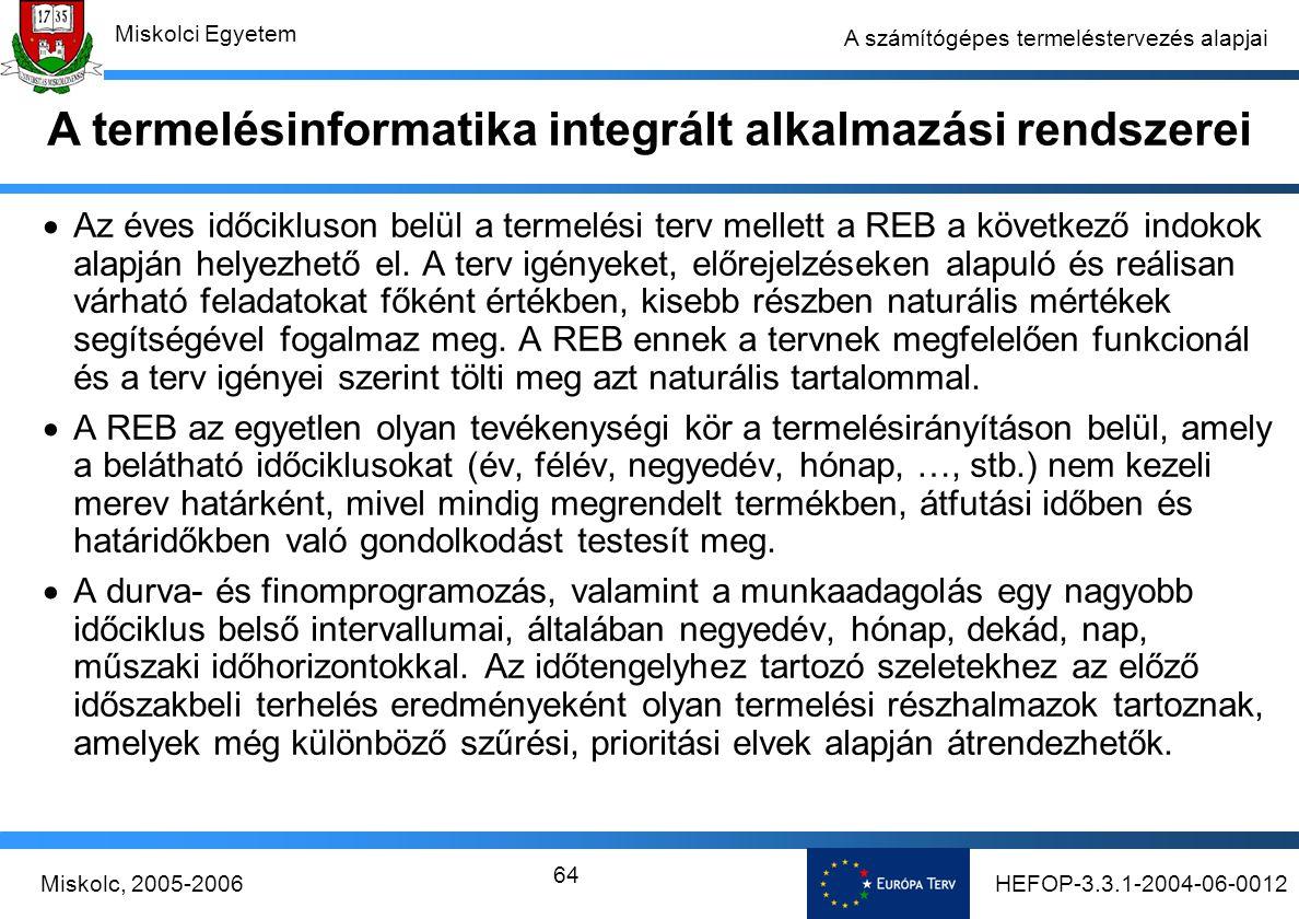 HEFOP-3.3.1-2004-06-0012Miskolc, 2005-2006 Miskolci Egyetem 64 A számítógépes termeléstervezés alapjai  Az éves időcikluson belül a termelési terv mellett a REB a következő indokok alapján helyezhető el.