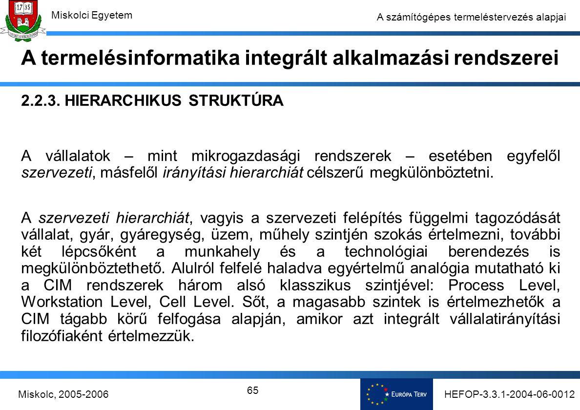 HEFOP-3.3.1-2004-06-0012Miskolc, 2005-2006 Miskolci Egyetem 65 A számítógépes termeléstervezés alapjai 2.2.3.