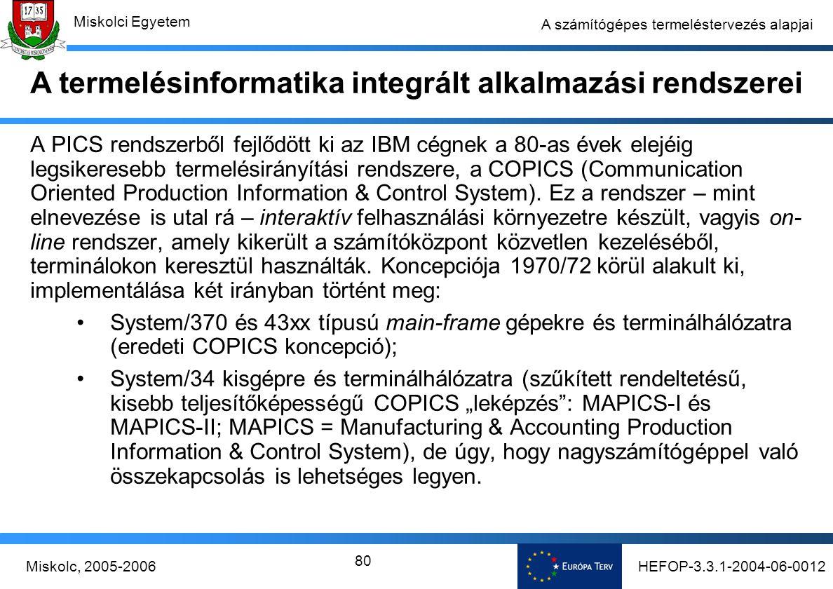 HEFOP-3.3.1-2004-06-0012Miskolc, 2005-2006 Miskolci Egyetem 80 A számítógépes termeléstervezés alapjai A PICS rendszerből fejlődött ki az IBM cégnek a 80-as évek elejéig legsikeresebb termelésirányítási rendszere, a COPICS (Communication Oriented Production Information & Control System).
