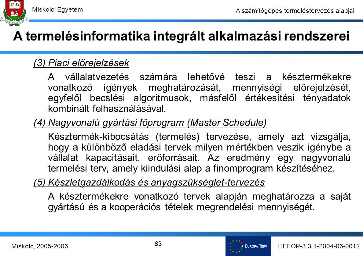 HEFOP-3.3.1-2004-06-0012Miskolc, 2005-2006 Miskolci Egyetem 83 A számítógépes termeléstervezés alapjai (3) Piaci előrejelzések A vállalatvezetés számára lehetővé teszi a késztermékekre vonatkozó igények meghatározását, mennyiségi előrejelzését, egyfelől becslési algoritmusok, másfelől értékesítési tényadatok kombinált felhasználásával.