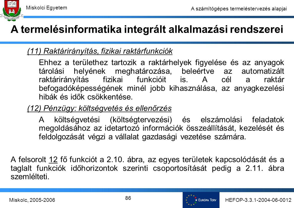 HEFOP-3.3.1-2004-06-0012Miskolc, 2005-2006 Miskolci Egyetem 86 A számítógépes termeléstervezés alapjai (11) Raktárirányítás, fizikai raktárfunkciók Ehhez a területhez tartozik a raktárhelyek figyelése és az anyagok tárolási helyének meghatározása, beleértve az automatizált raktárirányítás fizikai funkcióit is.