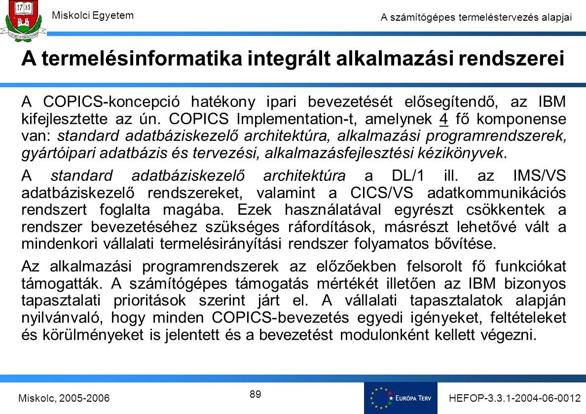 HEFOP-3.3.1-2004-06-0012Miskolc, 2005-2006 Miskolci Egyetem 89 A számítógépes termeléstervezés alapjai A COPICS-koncepció hatékony ipari bevezetését elősegítendő, az IBM kifejlesztette az ún.