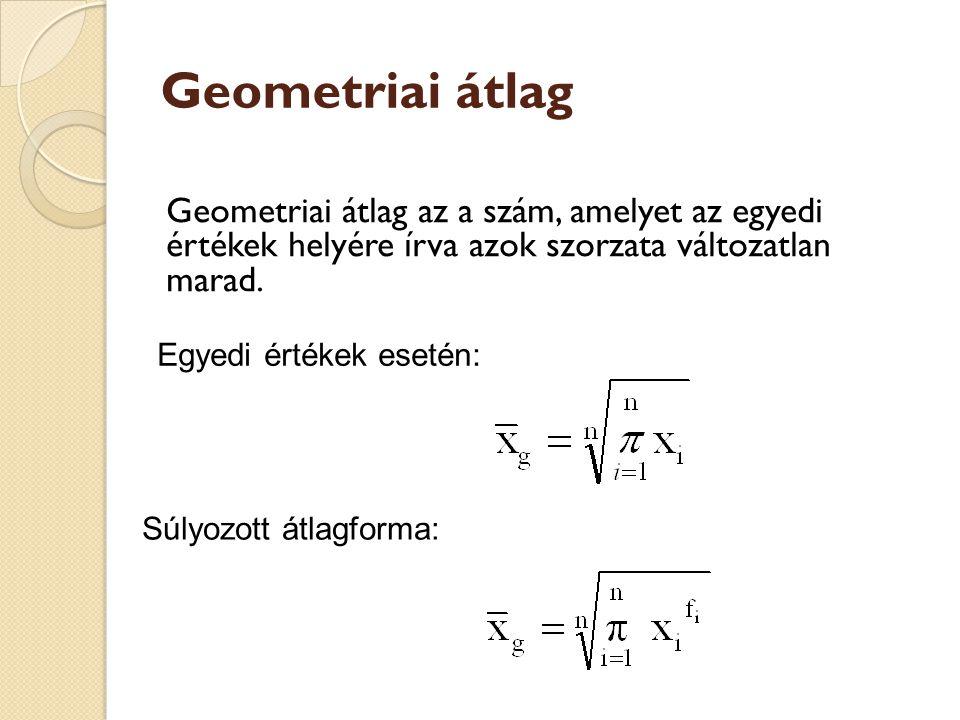 Geometriai átlag Geometriai átlag az a szám, amelyet az egyedi értékek helyére írva azok szorzata változatlan marad. Egyedi értékek esetén: Súlyozott