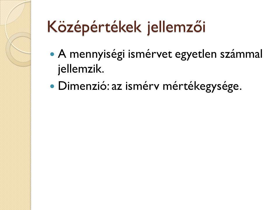 Középértékek : Átlagok Számtani Harmonikus Mértani Négyzetes Helyzeti középértékek Módusz (Mo) Medián (Me)
