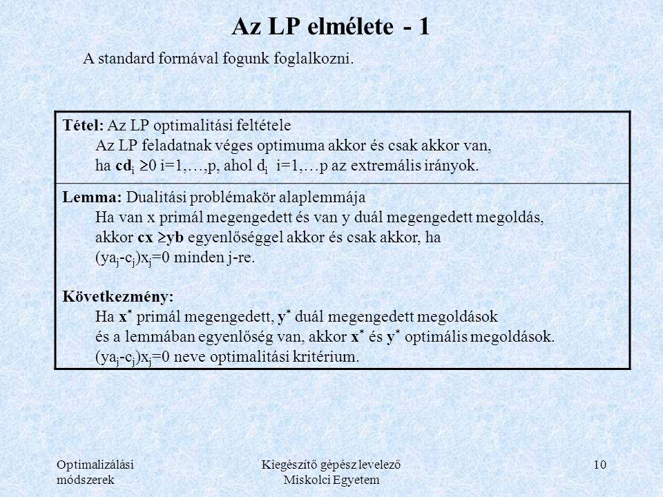 Optimalizálási módszerek Kiegészítő gépész levelező Miskolci Egyetem 10 Az LP elmélete - 1 A standard formával fogunk foglalkozni. Tétel: Az LP optima
