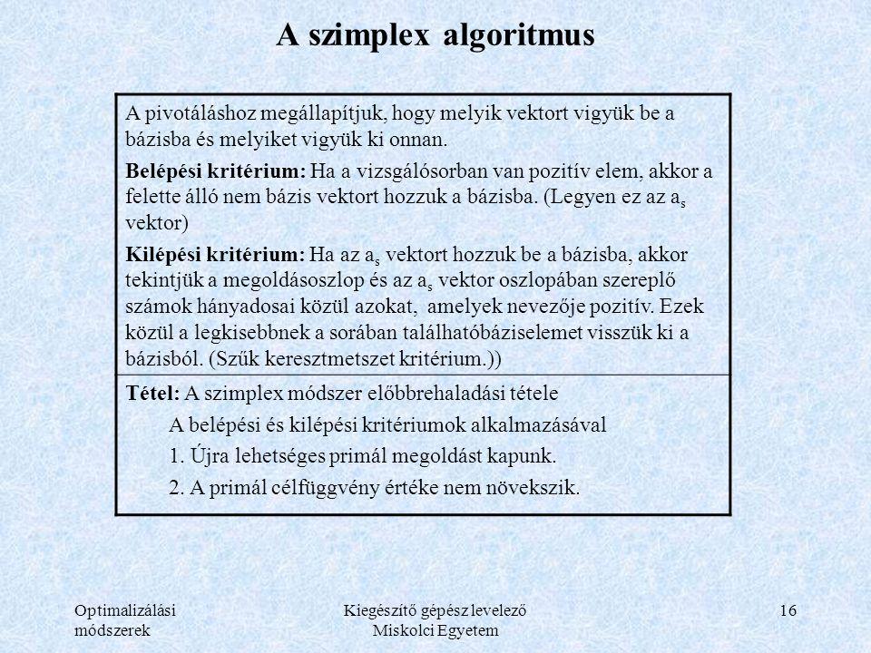 Optimalizálási módszerek Kiegészítő gépész levelező Miskolci Egyetem 16 A szimplex algoritmus A pivotáláshoz megállapítjuk, hogy melyik vektort vigyük