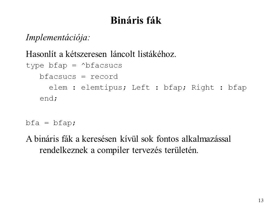 Bináris fák Implementációja: Hasonlít a kétszeresen láncolt listákéhoz.