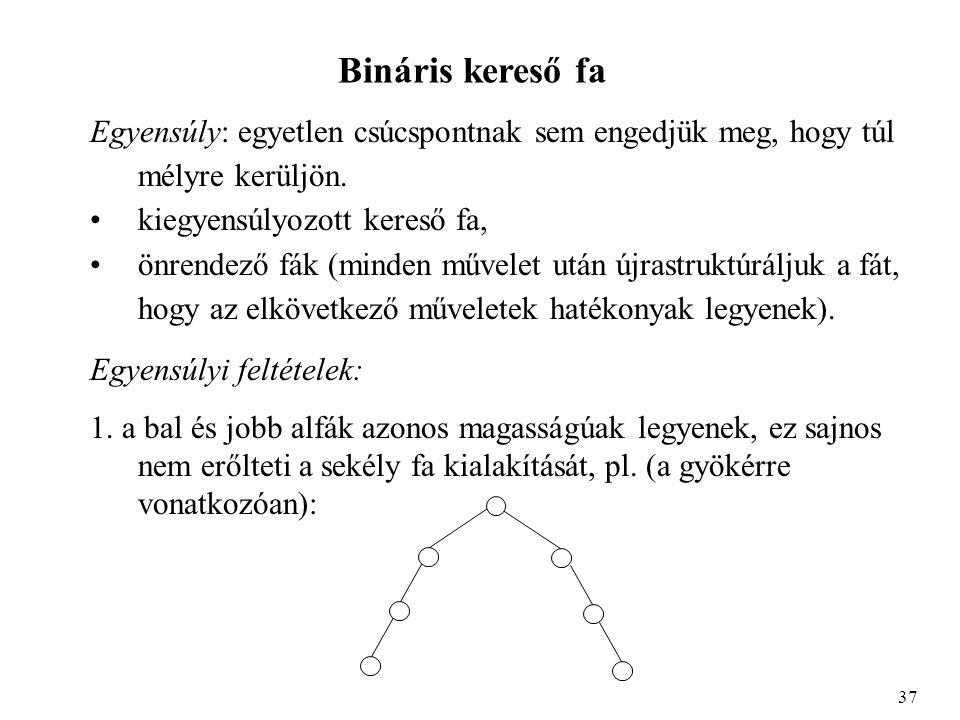 Bináris kereső fa Egyensúly: egyetlen csúcspontnak sem engedjük meg, hogy túl mélyre kerüljön.
