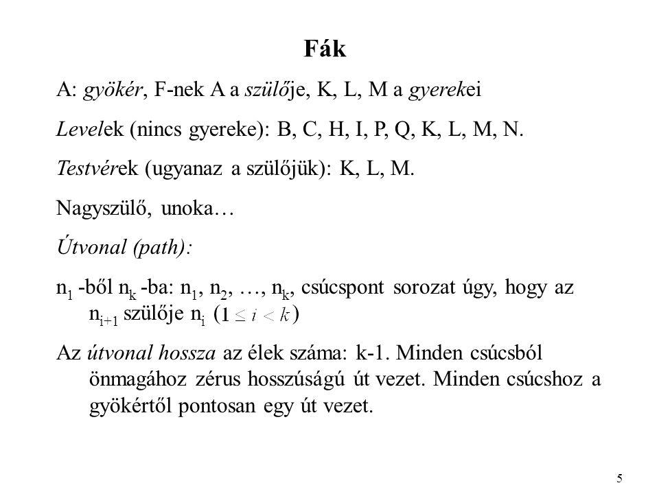 Fák A: gyökér, F-nek A a szülője, K, L, M a gyerekei Levelek (nincs gyereke): B, C, H, I, P, Q, K, L, M, N.