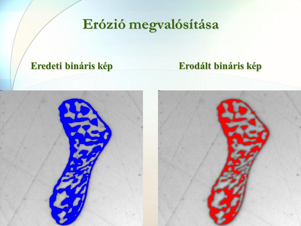 Erózió megvalósítása Eredeti bináris kép Erodált bináris kép