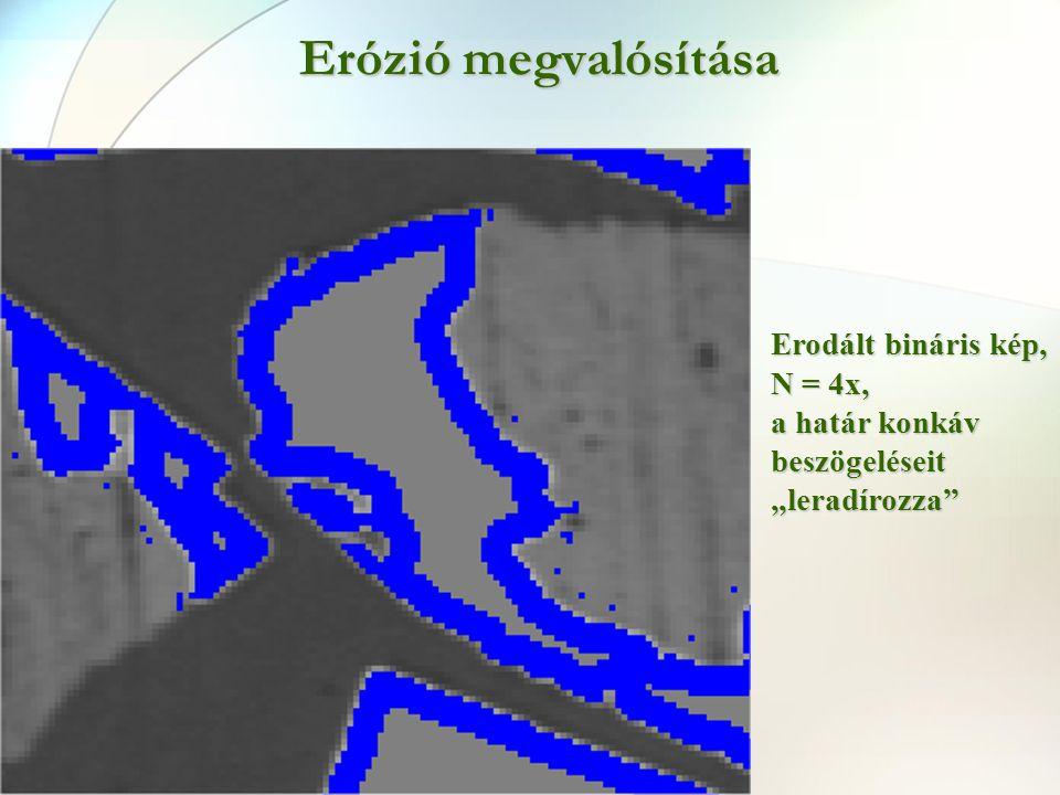 """Erózió megvalósítása Erodált bináris kép, N = 4x, a határ konkáv beszögeléseit """"leradírozza"""""""