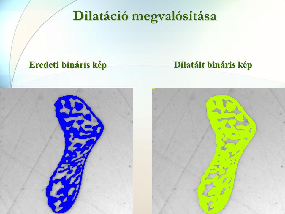 Dilatáció megvalósítása Eredeti bináris kép Dilatált bináris kép