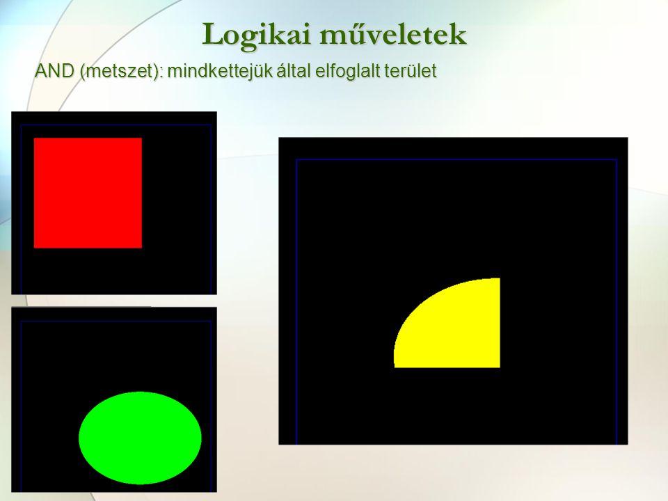 Logikai műveletek AND (metszet): mindkettejük által elfoglalt terület