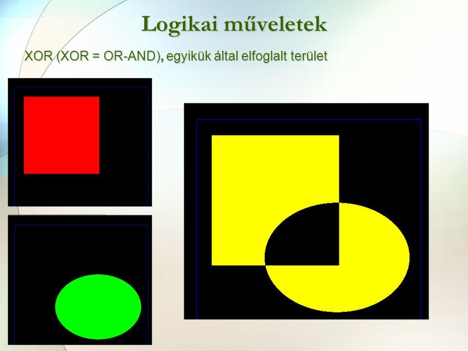 Logikai műveletek XOR (XOR = OR-AND), egyikük által elfoglalt terület