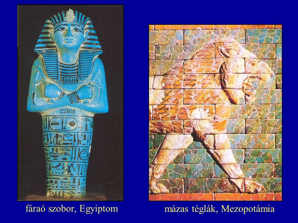 fáraó szobor, Egyiptom mázas téglák, Mezopotámia