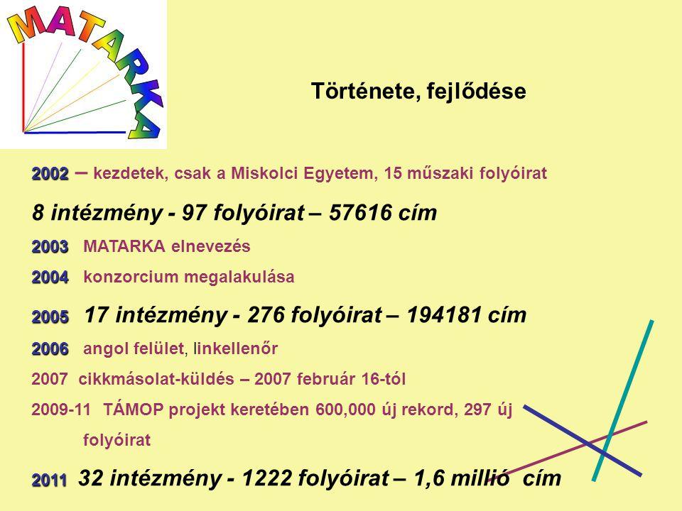 Története, fejlődése 2002 2002 – kezdetek, csak a Miskolci Egyetem, 15 műszaki folyóirat 8 intézmény - 97 folyóirat – 57616 cím 2003 2003 MATARKA elnevezés 2004 2004 konzorcium megalakulása 2005 2005 17 intézmény - 276 folyóirat – 194181 cím 2006 2006 angol felület, linkellenőr 2007 cikkmásolat-küldés – 2007 február 16-tól 2009-11 TÁMOP projekt keretében 600,000 új rekord, 297 új folyóirat 2011 2011 32 intézmény - 1222 folyóirat – 1,6 millió cím