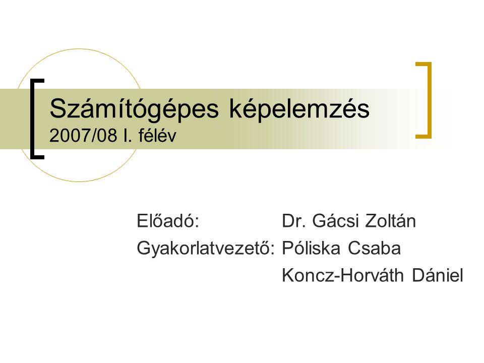 Számítógépes képelemzés 2007/08 I. félév Előadó:Dr.
